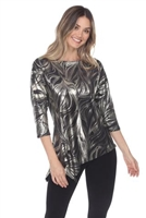 3/4 sleeve asymmetric tunic top - gold/black - polyester/spandex