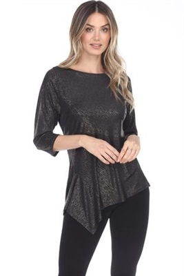 3/4 sleeve asymmetric tunic top - gold - polyester/spandex