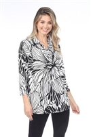 Cowl neck tunic top - black/white floral - polyester/spandex