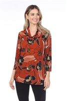 Cowl neck tunic top - rust print - polyester/spandex