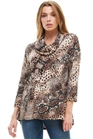 Cowl neck tunic top - brown animal - polyester/spandex