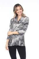 Cowl neck tunic top - grey animal - polyester/spandex