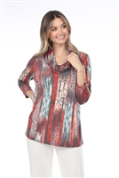 Cowl neck tunic top - multi print - polyester/spandex