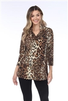 Cowl neck tunic top - brown leopard - polyester/spandex