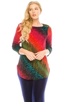 3/4 sleeve tunic top - red/green tie dye - polyester/spandex