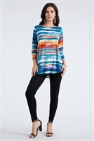 3/4 sleeve tunic top - blue/rust stripes - polyester/spandex