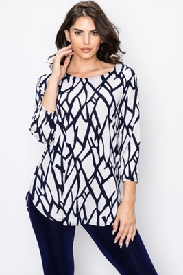 3/4 sleeve tunic top - navy print on white- polyester/spandex