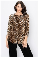 3/4 sleeve tunic top - leopard print - polyester/spandex