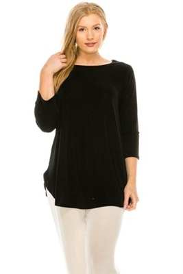 3/4 sleeve tunic top - black - polyester/spandex