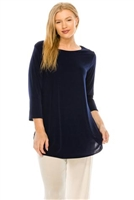 3/4 sleeve tunic top - navy - polyester/spandex