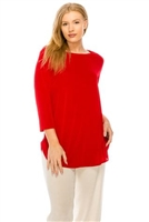 3/4 sleeve tunic top - red - polyester/spandex