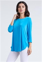 3/4 sleeve tunic top - turquoise - polyester/spandex