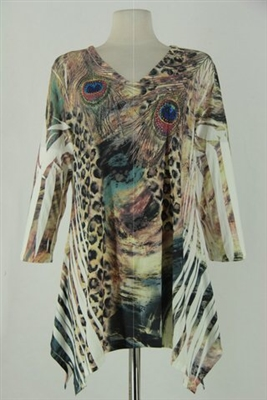 3/4 sleeve 2 point top - ivy leopard / peacock feathers - polyester/spandex