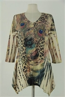 3/4 sleeve 2 point top - sand leopard / peacock feathers - polyester/spandex