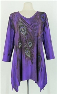 3/4 sleeve 2 point top - purple peacock feathers - polyester/spandex