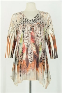 3/4 sleeve 2 point top - ivory peacock feathers - polyester/spandex