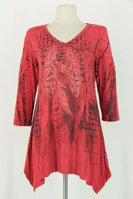 3/4 sleeve 2 point top - red peacock feathers - polyester/spandex