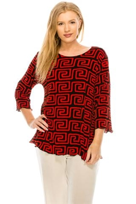 3/4 sleeve top with lettuce finish - red/black print - polyester/spandex