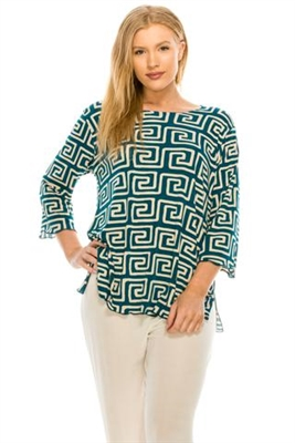 3/4 sleeve top with lettuce finish - teal/white print - polyester/spandex