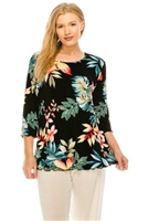 3/4 sleeve top with lettuce finish - black/tropical flowers - polyester/spandex