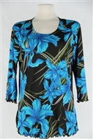 3/4 sleeve top with lettuce finish - blue iris print - polyester/spandex