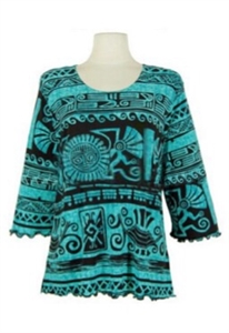 3/4 sleeve top with lettuce finish - teal aztec - polyester/spandex