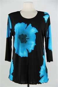 3/4 sleeve top with lettuce finish - blue big flower - polyester/spandex