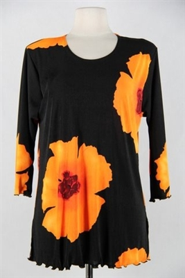 3/4 sleeve top with lettuce finish - orange big flower - polyester/spandex
