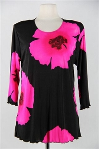 3/4 sleeve top with lettuce finish - pink big flower - polyester/spandex