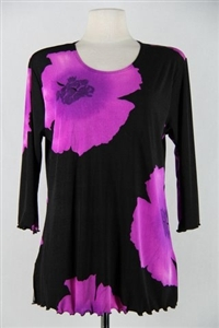 3/4 sleeve top with lettuce finish - purple big flower - polyester/spandex