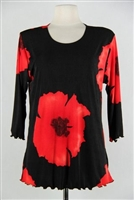 3/4 sleeve top with lettuce finish - red big flower - polyester/spandex
