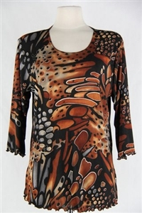 3/4 sleeve top with lettuce finish - brown/grey animal print - polyester/spandex