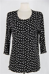 3/4 sleeve top with lettuce finish - black/white polka dots - polyester/spandex