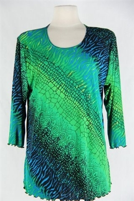 3/4 sleeve top with lettuce finish - green tie dye print - polyester/spandex