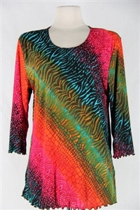 3/4 sleeve top with lettuce finish - red/green tie dye print - polyester/spandex