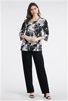 3/4 sleeve top with lettuce finish - black/white newspaper - polyester/spandex