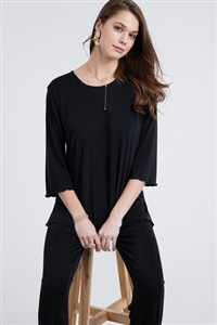 3/4 sleeve top with lettuce finish - black - polyester/spandex
