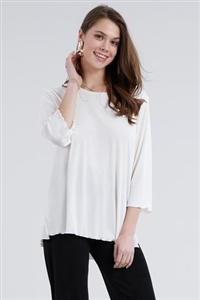 3/4 sleeve top with lettuce finish - ivory - polyester/spandex