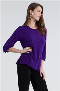 3/4 sleeve top with lettuce finish - purple - polyester/spandex