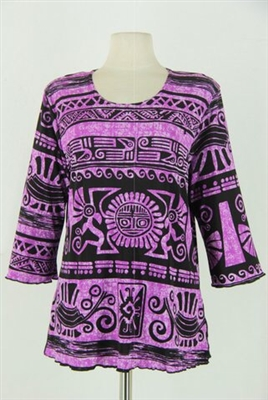 3/4 sleeve top with lettuce finish - purple aztec - polyester/spandex