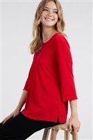 3/4 sleeve top with lettuce finish - red - polyester/spandex