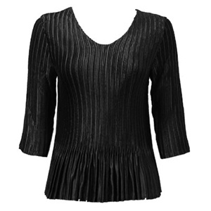 3/4 sleeve pleat top - black