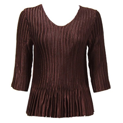 3/4 sleeve pleat top - dark brown