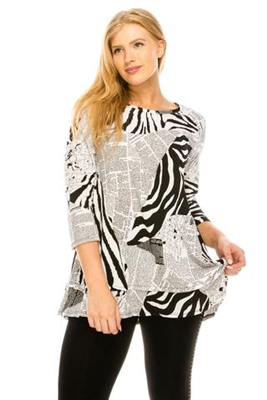 3/4 sleeve tunic top - black/white newspaper - polyester/spandex