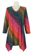 3/4 sleeve 2 point top - red/green tie dye - polyester/spandex