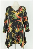 3/4 sleeve 2 point top -  black with colorful leaves - polyester/spandex