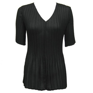 3/4 sleeve mini pleat top - black