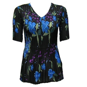 3/4 sleeve mini pleat top - black/blue floral print