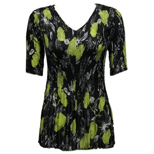 3/4 sleeve mini pleat top - black/kiwi floral print