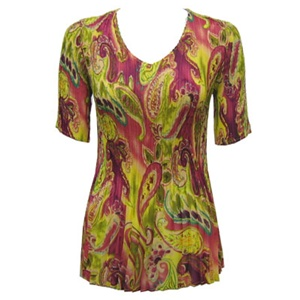 3/4 sleeve mini pleat top - pink lime paisley
